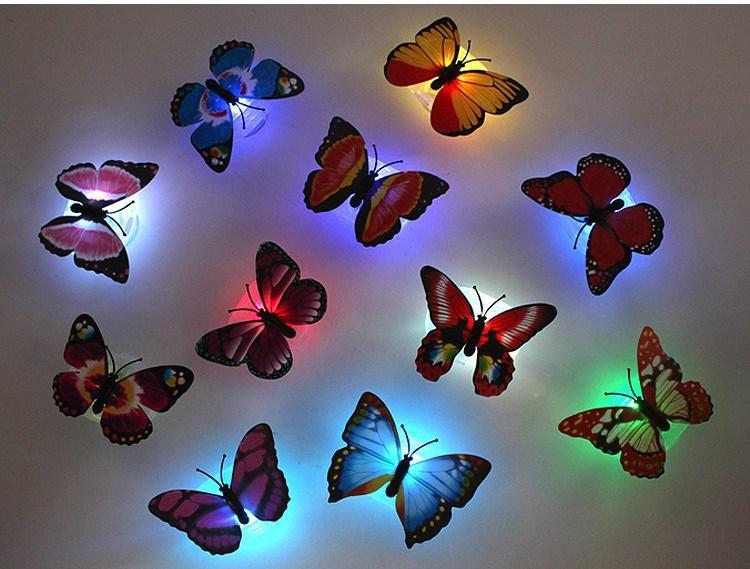 Colorful Butterfly Wall Night Lamp Fiber Optic Butterfly Night Light ...