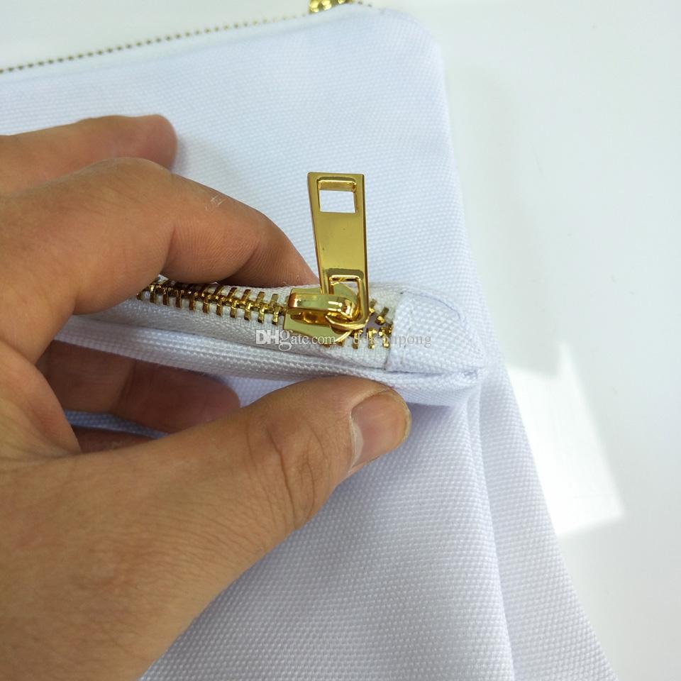 30 шт. / лот белый Поли холст макияж сумка для сублимации печати с белой подкладкой белого золота zip пустой косметический мешок для передачи тепла печати