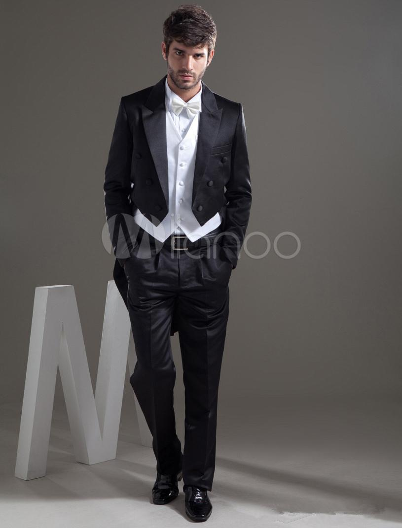 Fashion Wedding Coat Man Short Black Jacket With White Long Vest ...