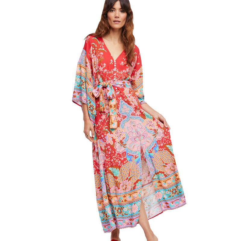 d6a52dddc6 Gypsy Collective Lotus Gown Boho Style Long Dress V Neck High Waist Half  Sleeve Print Dress Spell Design Bohemian Dress