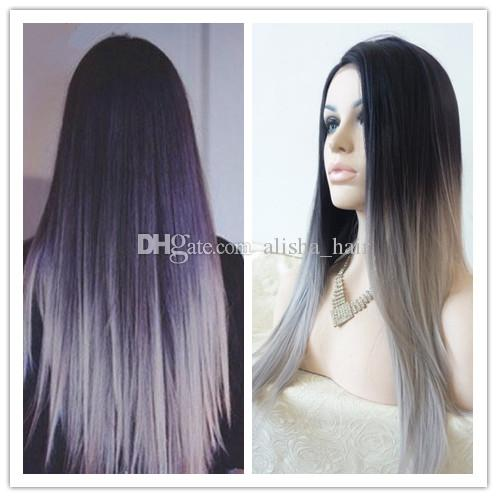 Silk Straight Gray Synthetic Wig Glueless Ombre Tone Color Black And