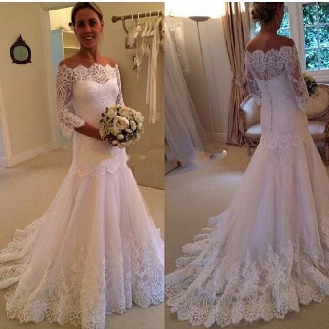 Discount French Lace Wedding Dresses Bateau Neck Three