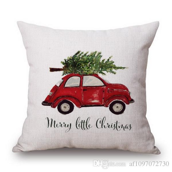 Kissenbezug Kissenbezug Luxus Urlaub Weihnachten Santa Rentier Baumwolle und Leinen Kissenbezug Auto Ofa Kissen Büro Lenden