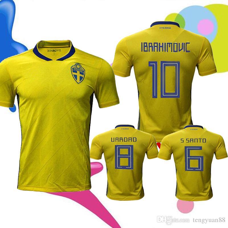 b06246bb66c 2018 TOP Thai Qualit New Sweden Jersey Soccer 18 19 Zlatan ...