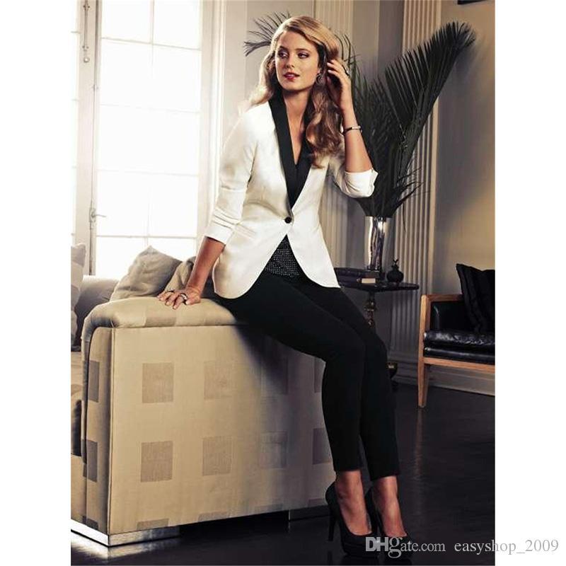 a9c5618163 Acquista Giacca Bianca Pantaloni Neri Elegante Abito Da Lavoro Formale 2  Pezzi Set Da Donna Business Suit Blazer Pantaloni Donna Suit Ufficio  Uniforme A ...