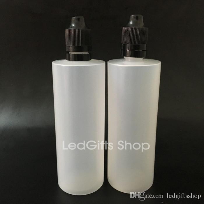 Gratis verzending kleurrijke tamper evidente afdichting en kind proof cap lege fles 120 ml e vloeibare plastic druppelaar flessen met lange dunne tips