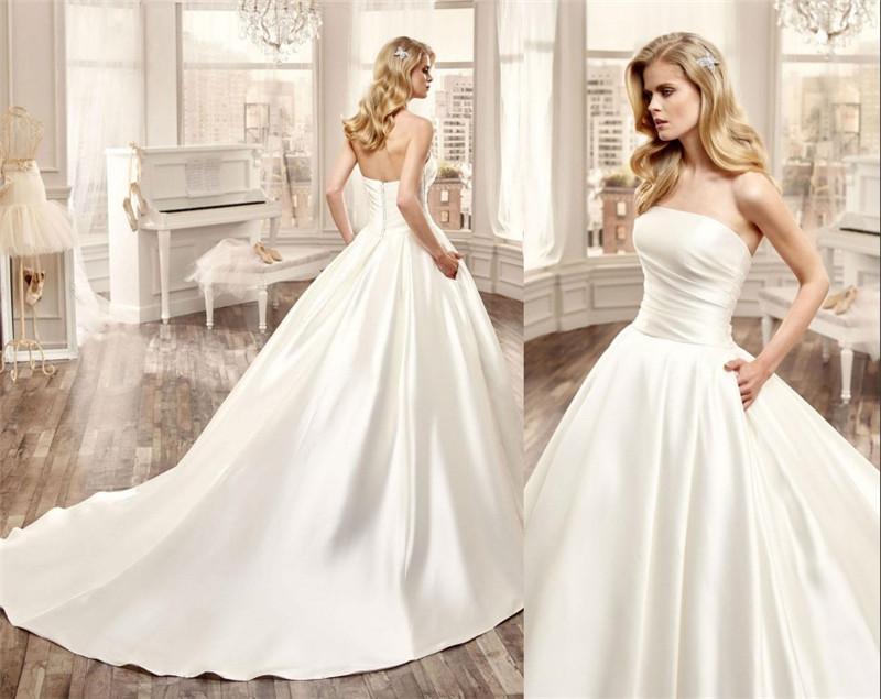 Simple Wedding Dresses Understated Bridal Gown 2: Acquista Nicole Spose 2016 Abiti Da Sposa Una Linea Senza