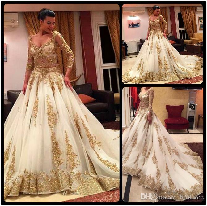 a795dfe6a33 Discount Gorgeous Golden Lace Muslim Wedding Dress 2018 Sexy V Neck Beaded  Appliques Sheer Long Sleeve Vestido De Noiva Two Pieces Wedding Gowns Big  Wedding ...