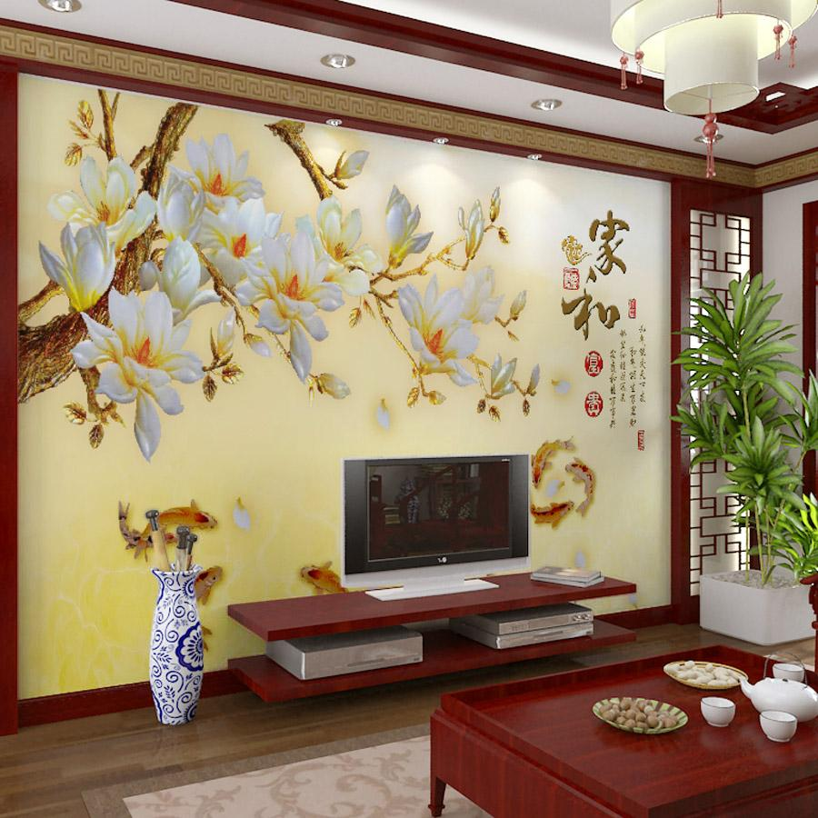 Customized Large Mural 3D Wallpaper Wall Paper Bedroom Living Room TV  Backdrop Of Modern Chinese Poetry Style Golden Yellow Plum Goldfish Wall  Paper Large ...