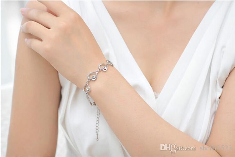 18 K Argent Plaqué Coeur Collier Boucles D'oreilles Bracelets Ensembles Romantique mode CRYSTAL Bijoux Ensembles Pour Femmes Amour Ensembles de Bijoux 8025