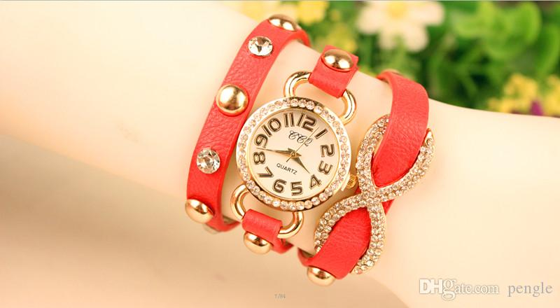 Горячая Wrap Мода Женщины Леди Наручные Часы Алмазы Дело Очаровательные Браслеты Часы Mix Цвета Падение Бесплатная Доставка