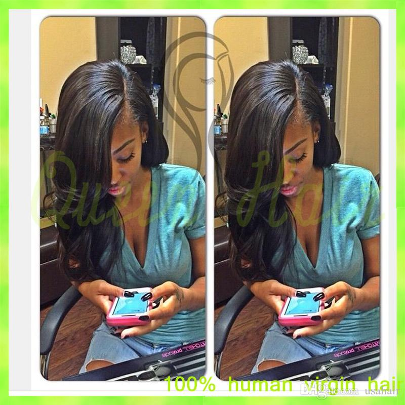 Unprocessed Natural Wave Brazilian Virgin Full Lace 100 Human Hair Wigs For African Amercians Side Part Human Lace Front Wigs