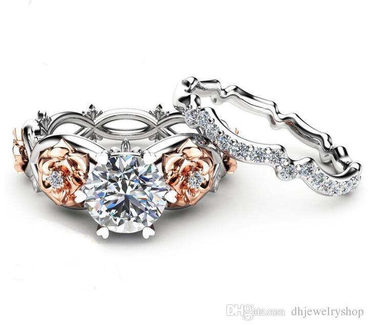 Женская мода 2 в 1 925 стерлингового серебра розовое золото круглый вырезать CZ белое золото заполненные обручальное кольцо набор обручальное кольцо размер 5-9