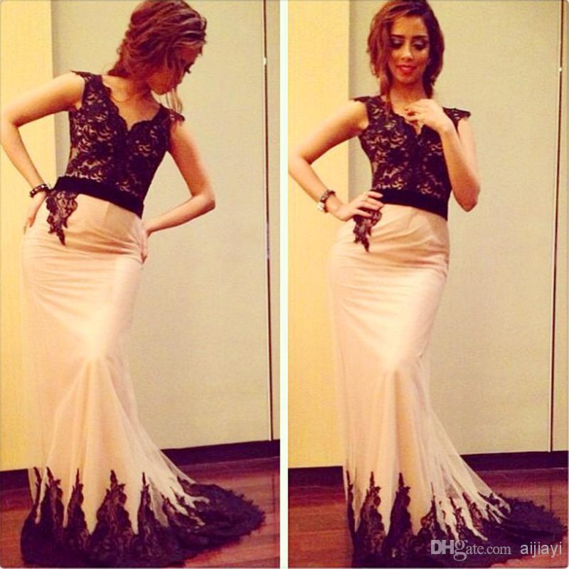Hot ! New 2015 Mermaid Black Evening Prom Dresses Lace Top Lace Appliques Bottom Long Arabic Celebrity Dresses