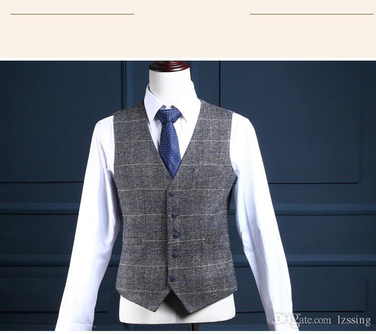 Gris Couleur Plaid Check Style 3 Pièce Business Suit Pant Manteau Hommes Costumes De Mariage Photos L-52041