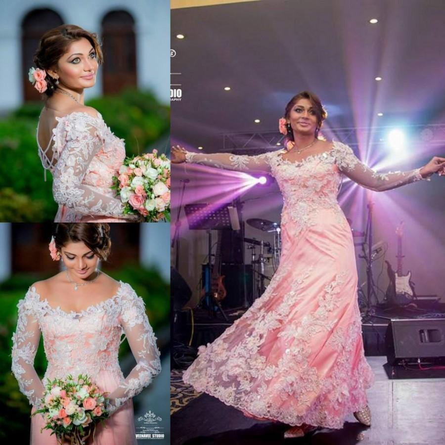 Discount Modest 2015 Indian Wedding Dresses Long Sleeves Plus Size A Line Scoop Lace Appliques Pearls Beading Bridal Ball Gowns Outfits Dress