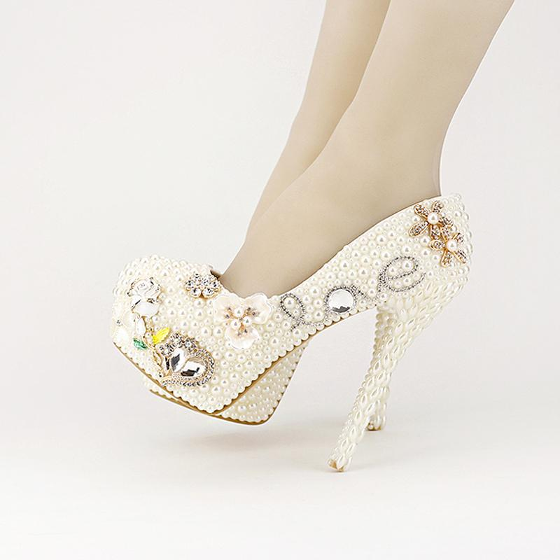 c40248576ab9 2016 New Designer Luxurious Pearl Crystal Wedding Shoes Custom Made White  Ivory Bridal Shoes Valentine S Day Love Shape Pumps Nude Shoes Platform  Sandals ...