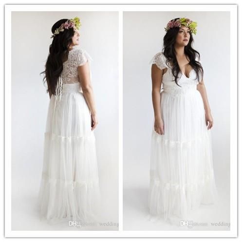discount empire waist plus size wedding dresses 2015 a line v neck