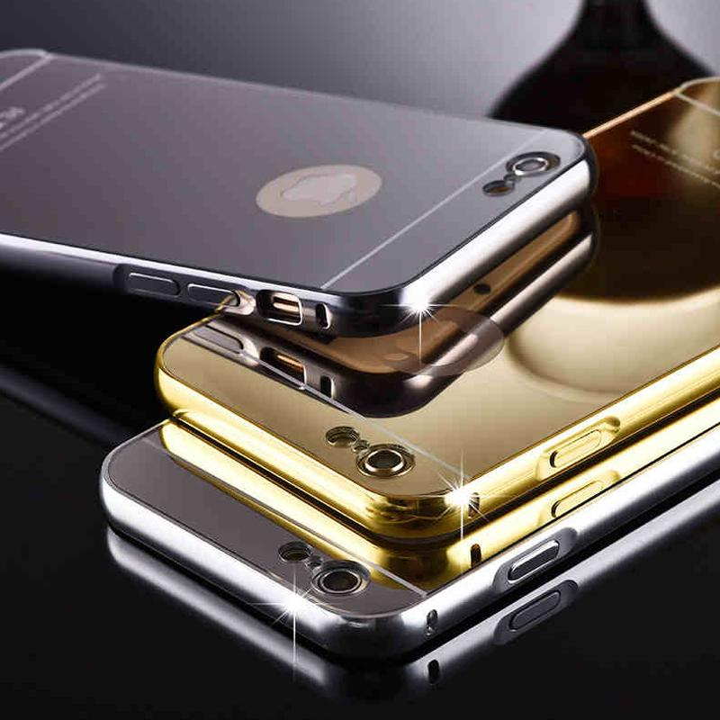 For iPhone7 7plus Cases With Aluminum Metal Bumper Frame Acrylic Mirror Back Cover Fit iPhone 5 6 6plus Available DHL Free SCA061