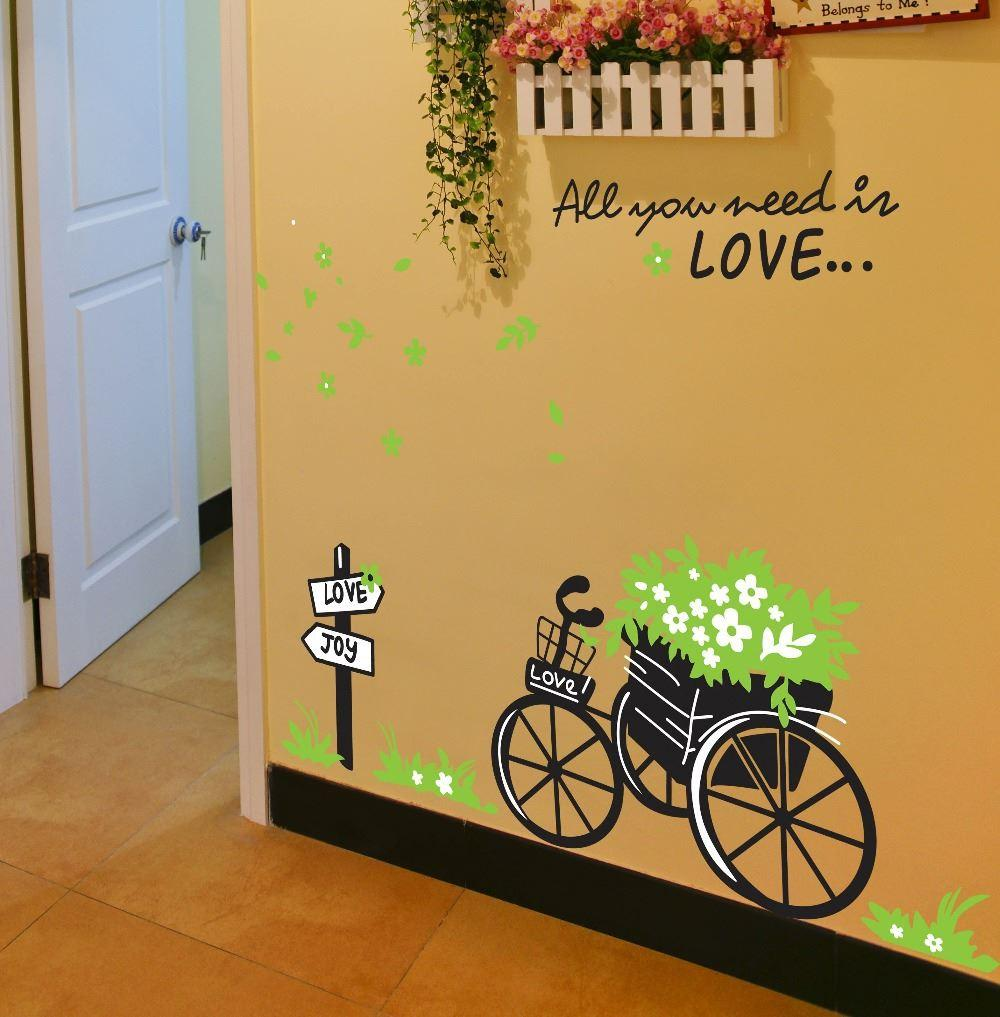 All you need is love quotes bike 3d wall stickers decals 722 see larger image amipublicfo Choice Image
