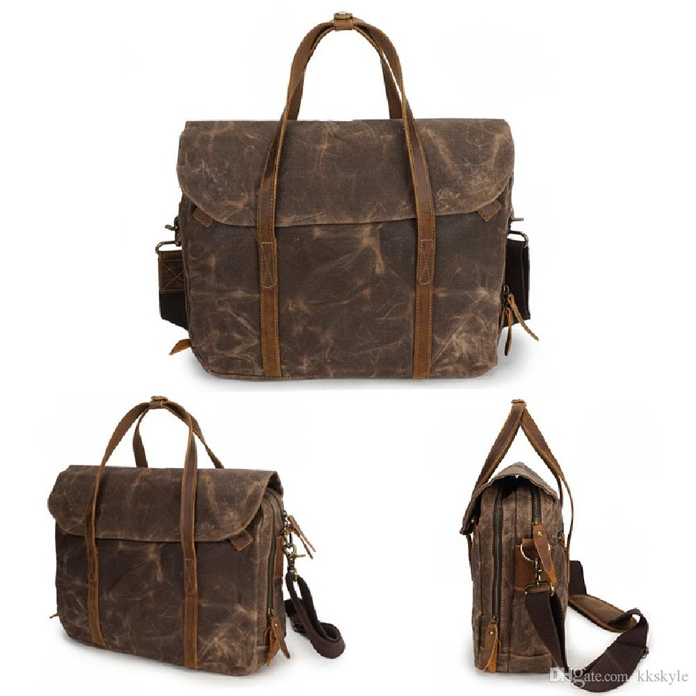 Laptop Bag Waterproof Canvas Messenger handBag,Vintage Shoulder Bag Cow Leather Briefcase