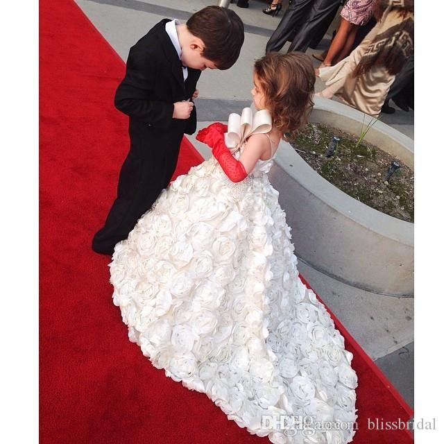 Spaghetti Straps Crystals Flower Girl Dresses Rose Ruffles White Child Pageant Dresses A Line Floor Length Isabella Arabic