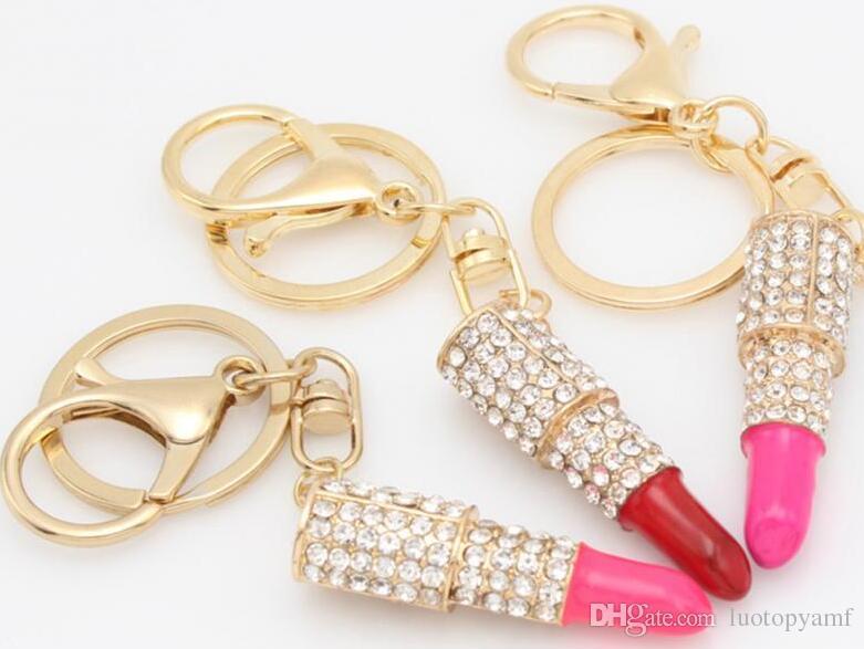Neue Mode Strass Kristall Lippenstift Schlüsselanhänger Tasche Geldbörse Auto Anhänger Schlüsselanhänger Auf Lager