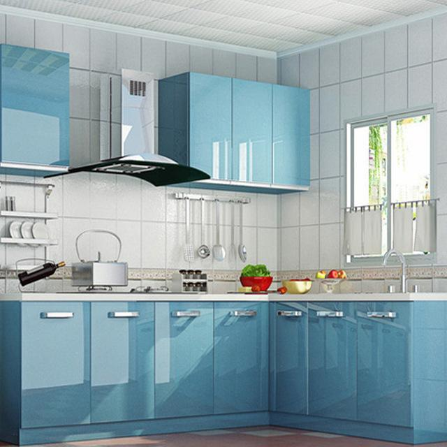 glossy blue self adhesive pvc contact paper kitchen cupboard shelf