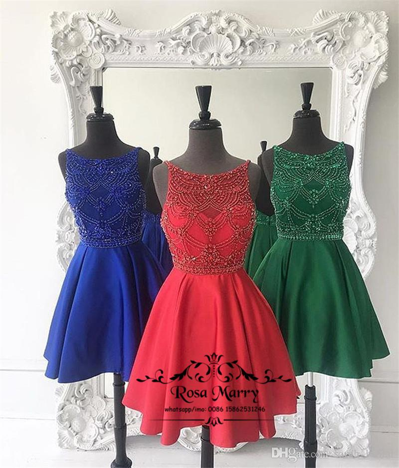 Lujo Rojo Corto Más Tamaño Vestidos de Fiesta Homecoming 2020 Una línea hasta la rodilla con cuentas Vestidos de noche de graduación de cóctel de chicas baratas