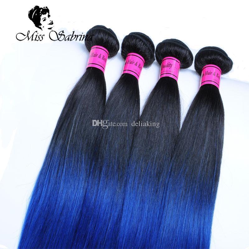 T1b / Azul 100 Cabelo Humano Tece 3 Pacotes 10-26 polegada 2 Tom Ombre Tecer Cabelo Brasileiro Em Linha Reta 300g / lote Não Remy