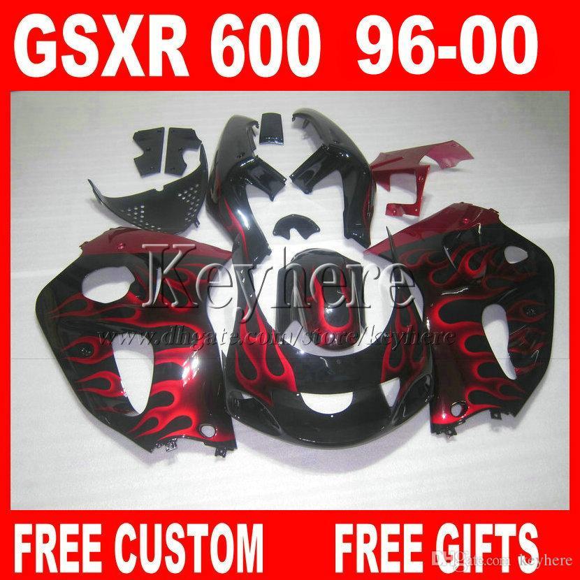 Red Flames Fairings för Suzuki GSXR 600 750 SRAD 1996 1997 1998 1999 2000 Motorcykel Fairing Kit GSXR600 GSXR750 96 97 98 99 00 8Y7P
