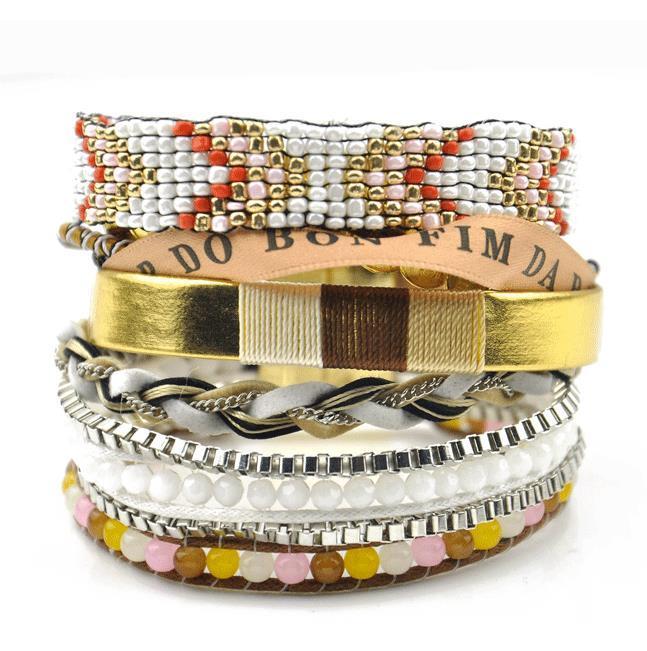 Новые женщины чешские браслеты бусины плетеный Шарм Multi слой пляж Шарм мексиканские браслеты для оптовой Бесплатная доставка