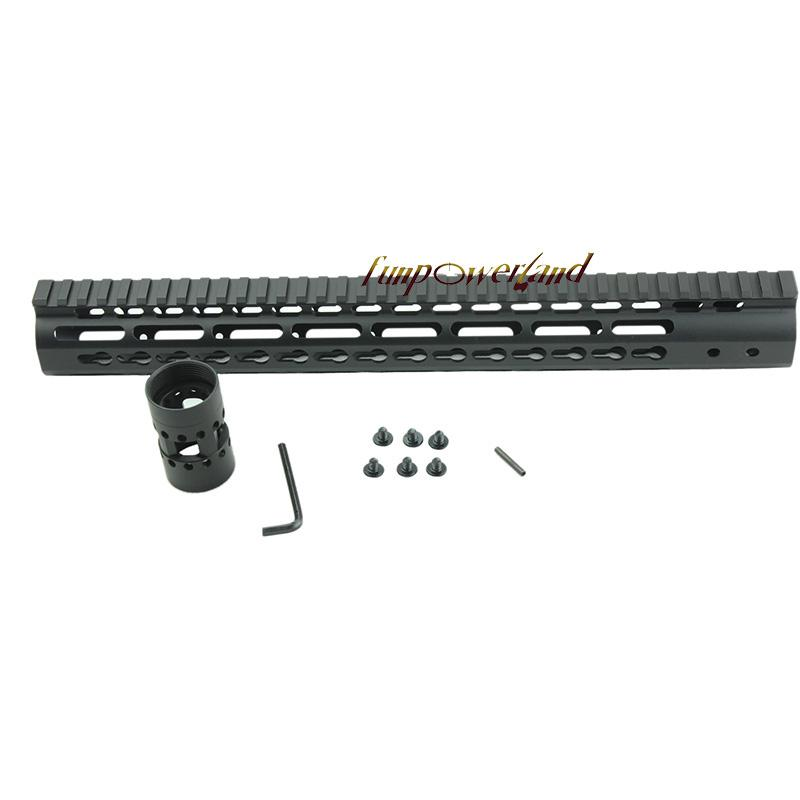 Funpowerland Black Float NSR 15 pollici Handguard One-piece Top Rail System KeyMod Alta qualità Lightest AR-15 M4 M16