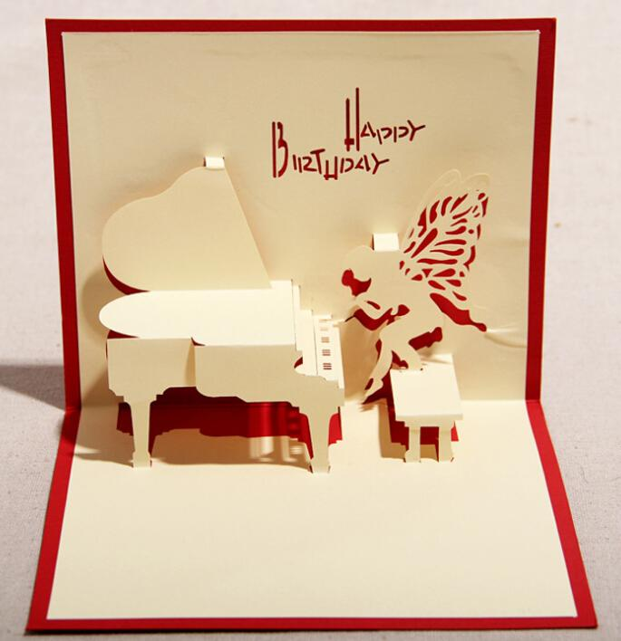 Angel Piano 3d Pop Up Gift Greeting 3d Blessing Cards Handmade – Pop-up Birthday Card Printable