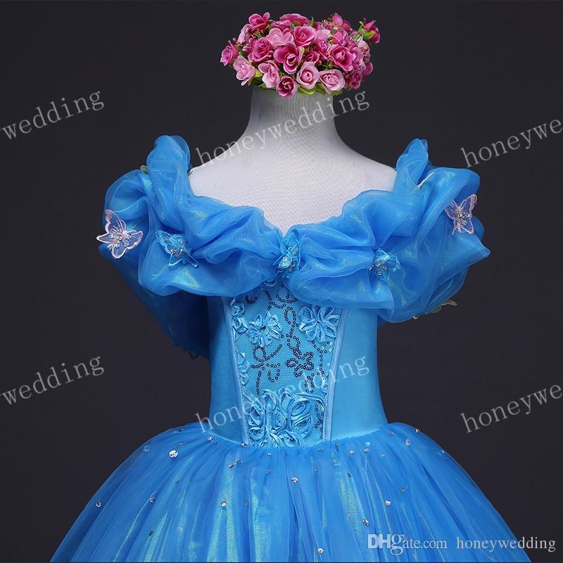 2019 أحدث الاطفال تأثيري سندريلا اللباس الأزياء زهرة فتاة اللباس لطيف الطفل حفل زفاف حزب الأميرة الكرة ثوب فساتين