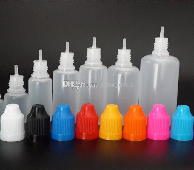 E liquid bottle 3ml 5ml 10ml 15ml 20ml 30ml 50ml Empty Plastic Dropper Bottles with childproof caps for E Liquid E vape Juice