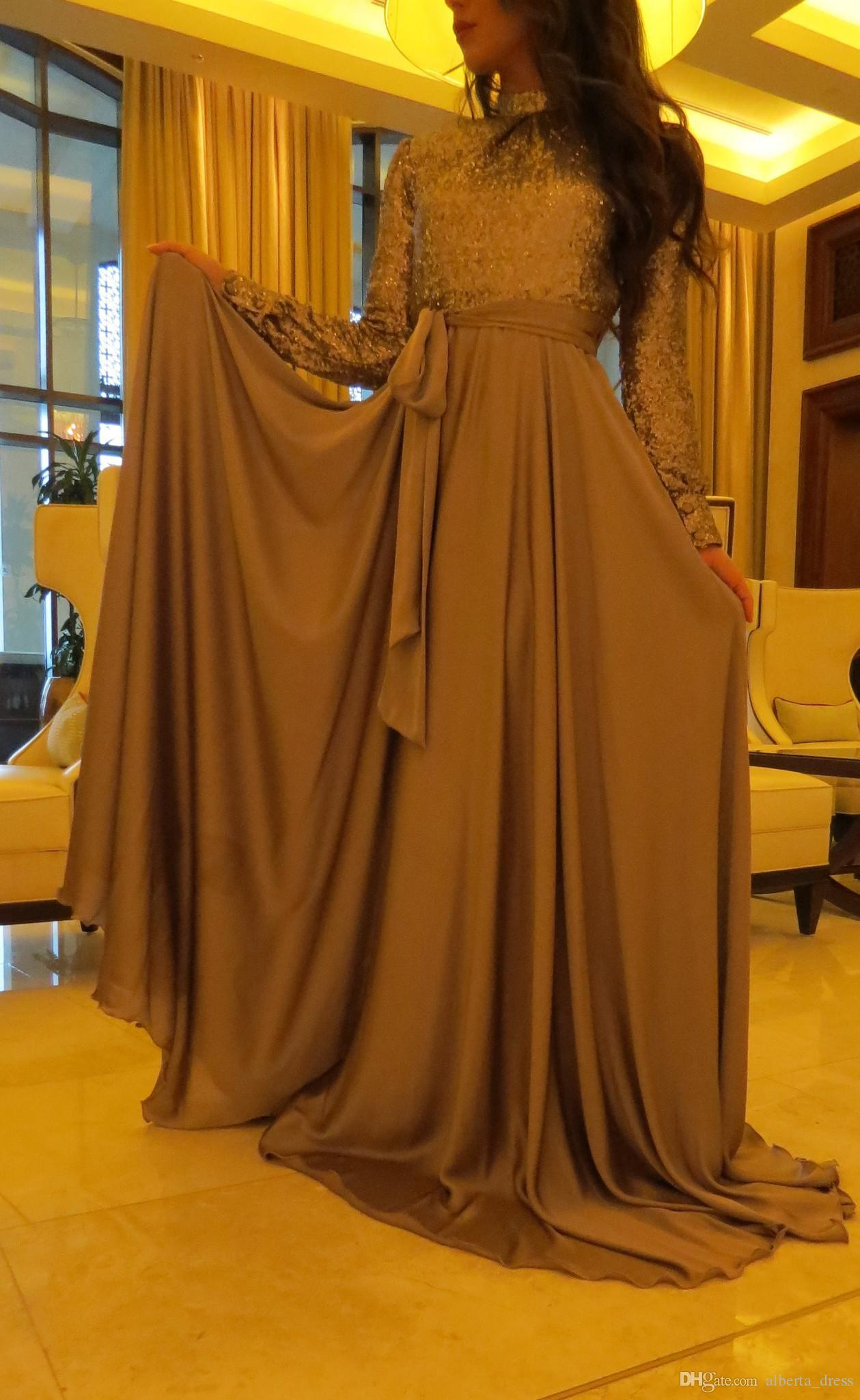Abiti da sera celebrità da donna musulmana Sequin Top Sequin Abaya in Dubai Arabic Kaftan lungo abiti da sera da sera con maniche lunghe