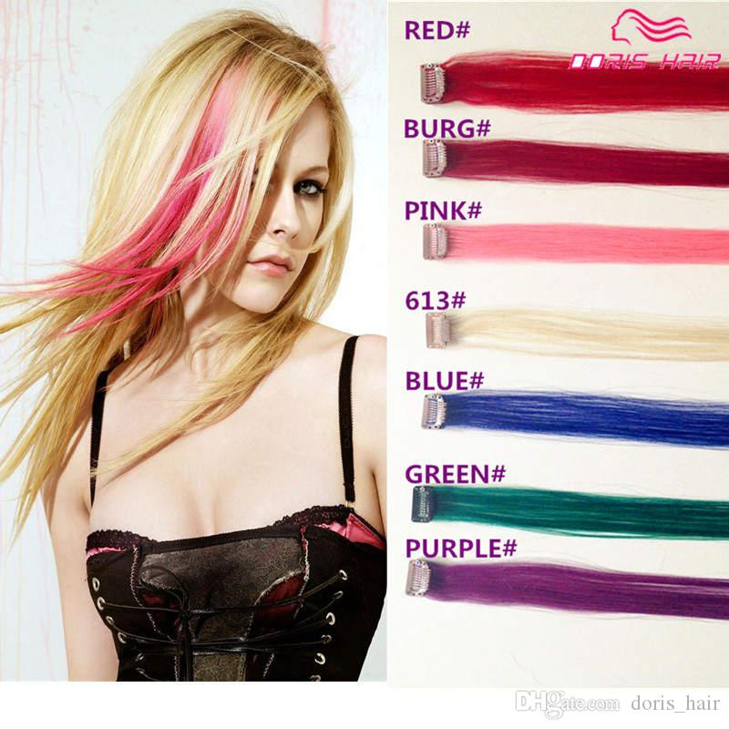 PINK hair Mix colour pack cheap clip in human Hair Extension remy hair clip ins red pink burg blue