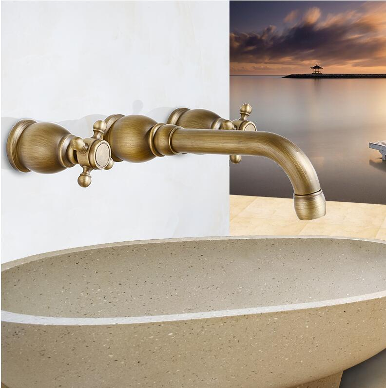 Best Wall Mounted Antique Brass Faucet Bathroom Water Tap Antique Basin  Faucet Dual Holder Three Hole Gz 7105 Under $172.41 | Dhgate.Com