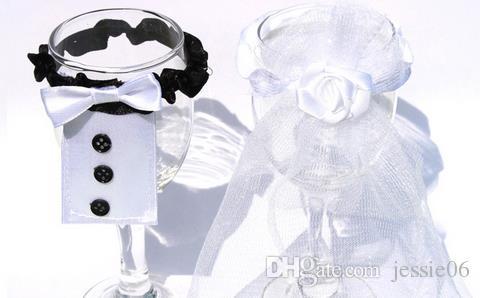 Hochzeit Dekorationen Champagner Flöten Tasse Dekorationen Band Halter Männer Bräutigam Anzug Frauen Brautkleider Party liefert Geschenk 50st