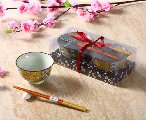 Zakka Japanese Style Bowl Gift Set For 2 With Porcelain Rice Bowls ...