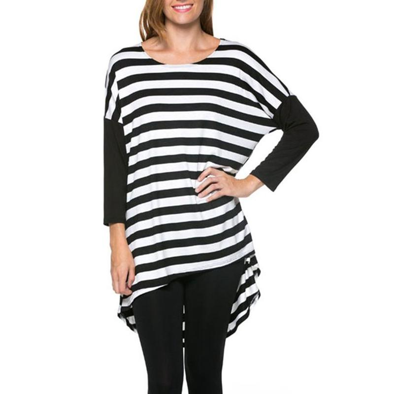 Black And White Straps Women T Shirts Long Sleeves Crew Neckline T ...