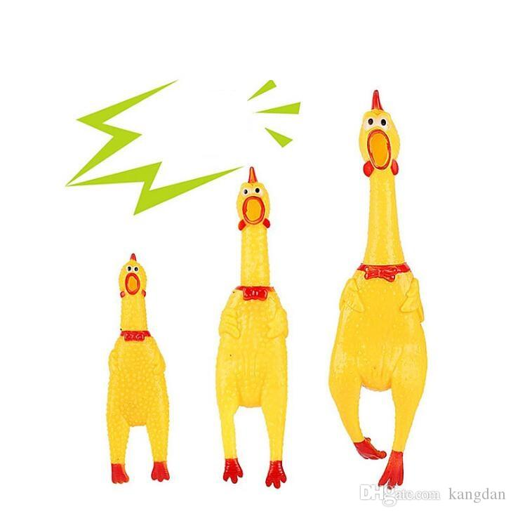 31x7 سنتيمتر لطيف الأصفر الصراخ الدجاج شكل الصوت pet لعبة الكلب القط غير سامة المطاط مضغ اللعب مضحك مهرجان الطفل الصوت اللعب