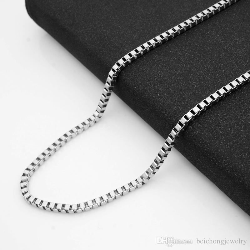 Beichong Never Fade 316 stainless steel chain necklace 3mm 60cm four color box chains Best Friends Jewelry Accessories