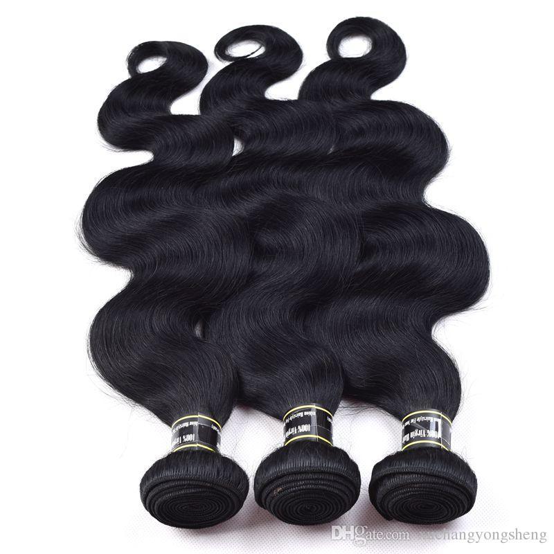Fasci di capelli umani vergini brasiliani dell'onda del corpo Jet Black 1 # colore dell'onda del corpo dei capelli tesse non trattate estensioni dei capelli a buon mercato