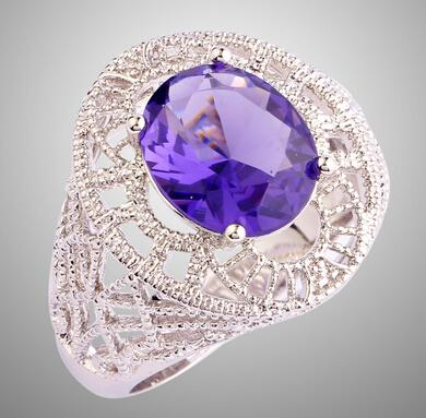 2015 New design Oval Cut Purple Amethyst Jewelry 925 Silver Ring Size 7 8 9 10 Women Gift Wholesale Free Shipping