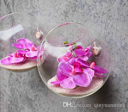 Half Circle Glass Vases Flower Pots Planters Wall Hanging Creative
