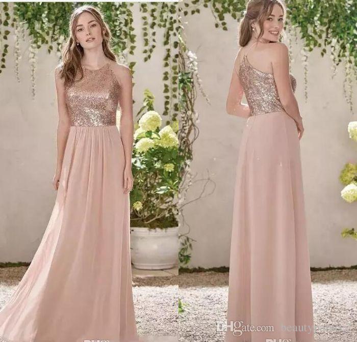 Compre Venta Caliente Vestidos De Dama De Honor De Oro Rosa Una ...