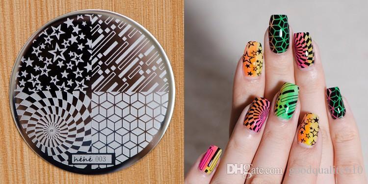 HEHE_Series01-10 Aço Inoxidável Rodada Manicure Template Nail Art Impressão Polish Stamp Plate