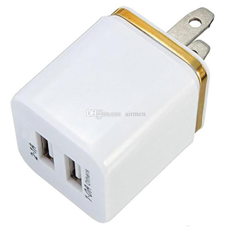 High Quality 5V 2.1+1A Double USB AC Travel US Wall Charger Plug Dual Charger For Samsung Galaxy HTC Smart Phone Adapter